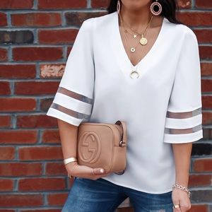 Tops - Deep v dressy white shirt with balloon sleeves